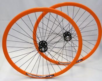 """28"""" Laufradsatz Novatec Fixie schwarz- Rigida DP18 - Orange -fixed/free"""